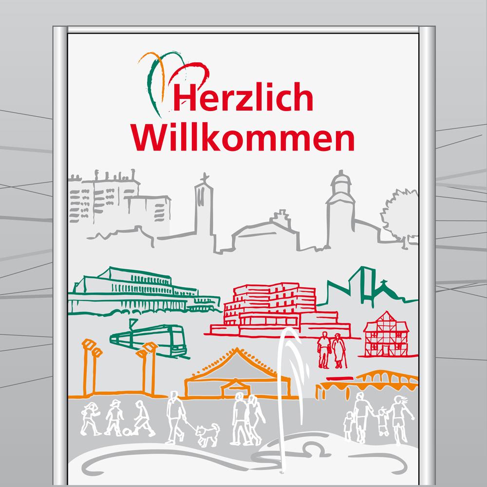 Stadt Vellmar, Ortseingangstafeln (Illustration)