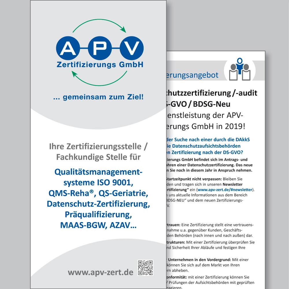 APV-Zertifizierungs GmbH (Flyer, Geschäftspapiere)